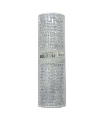 Decorative Ribbon Metallic Deco Mesh 10''x10 yds-White