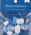 hildie & jo 14 pk Assorted Plastic Flat Back Rhinestones-Blue & White