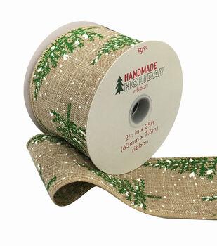 Handmade Holiday Christmas Ribbon 2.5''x25'-Snowy Trees on Natural
