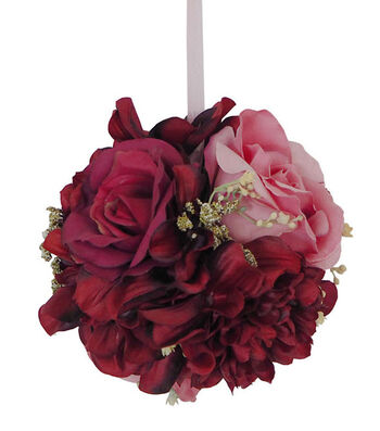 Blooming Autumn Small Frosted Rose & Dahlia Kissing Ball-Burgundy