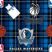 Dallas Mavericks Fleece Fabric -Plaid, , hi-res