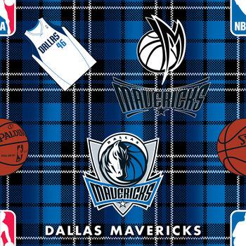 Dallas Mavericks Fleece Fabric -Plaid
