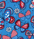 Patriotic Cotton Fabric -Flower Power Butterflies