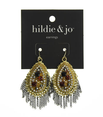 hildie & jo Teardrop Gold & Silver Earrings-Beads & Crystals