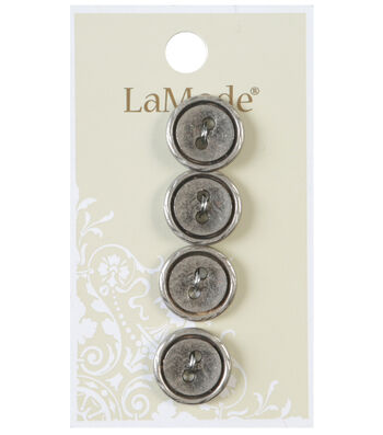 LaMode 2 Hole Antique Silver Metal Buttons 16mm