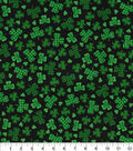 St. Patrick\u0027s Day Cotton Fabric-Gingham & Solid Clover Black