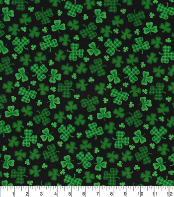 St. Patrick's Day Cotton Fabric-Gingham & Solid Clover Black