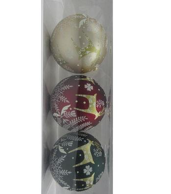 Maker's Holiday Christmas Woodland Lodge 3 pk 120 mm Boxed Ornaments