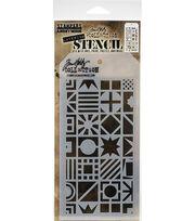 Tim Holtz Layered Stencil 4.125''X8.5''-Patchwork Cube, , hi-res