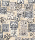 Novelty Cotton Fabric-Antique Postage Stamps