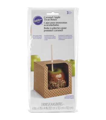"Wilton Caramel Apple Treat Boxes 4""X4""X4"" 3/Pkg"