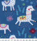 Blizzard Fleece Fabric-Floral Llamas on Teal