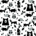 Snuggle Flannel Fabric-Black & White Scattered Woodland