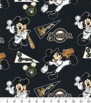 Milwaukee Brewers Cotton Fabric-Mickey, , hi-res
