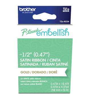 Brother P-touch Embellish Satin Ribbon 0.47''x13.1'-Gold on White