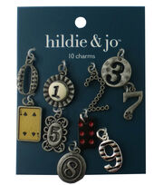 hildie & jo 10 Pack 0.75''x0.5'' Numbers Antique Silver Charms, , hi-res