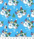 Christmas Cotton Fabric-Cozy Snowmen in Snow