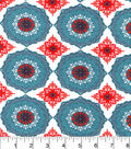 Snuggle Flannel Fabric -Aqua Coral Floral Medallion