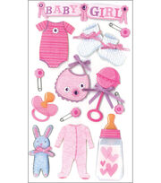Jolee's Boutique Le Grande Dimensional Stickers-Baby Girl, , hi-res