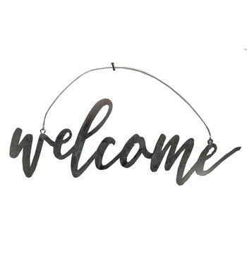 Hello Spring Galvanized Welcome Script Word Decor