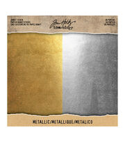 Tim Holtz Idea-ology Pack of 36 8''x8'' Kraft Stock-Metallic, , hi-res