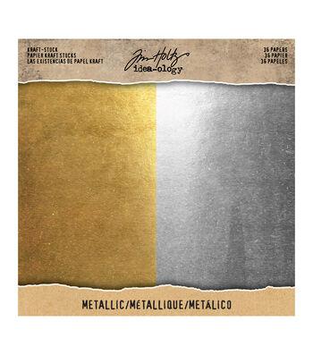 Tim Holtz Idea-ology Pack of 36 8''x8'' Kraft Stock-Metallic