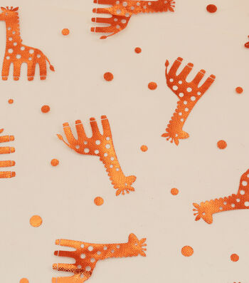 Tulle Fabric 57''-Orange Foil Giraffe on Beige