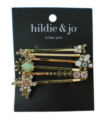 hildie & jo 6 Pack Gold Hair Pins-Multi Stones