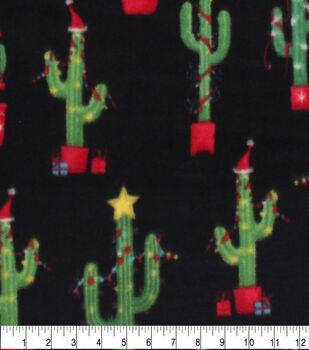 Anti-Pill Plush Fleece Fabric-Christmas Tree Cacti Holiday