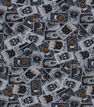 Halloween Cotton Fabric-Black Magic Tossed Cards