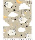Nursery Flannel Fabric-Sheep, Moon & Clouds