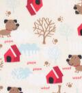 Blizzard Fleece Fabric-Woof Backyard Dog on Tan