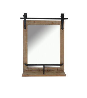 Hudson 43 Rustic Barn Mirror with Shelf
