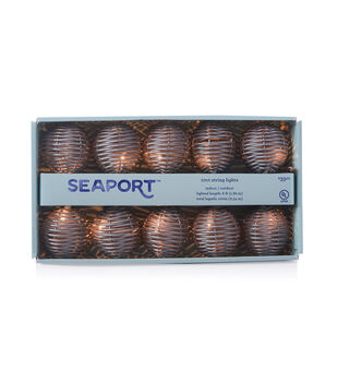 Seaport 10 ct Gray Rattan String Lights