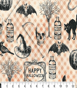 Halloween Cotton Fabric-Rustic Halloween Icons