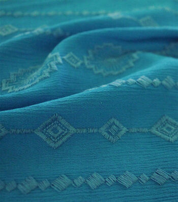 Silky Crinkle Embroidered Apparel Fabric 45''-Turquoise