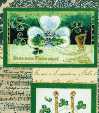 St. Patrick's Day Fabric 43''-Vintage Irish Block