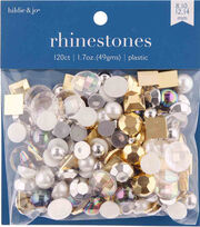 hildie & jo 120 pk Assorted Flat Back Rhinestones-Gold, White & Silver, , hi-res