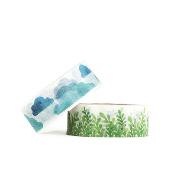 Park Lane 2 pk Washi Tapes 0.6''x10 yds-Clouds & Grass