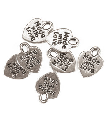 "Darice ""Made with Love"" Silvertone Charms 75pc"