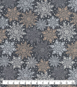 Christmas Snuggle Flannel Fabric-Gray Snowflakes