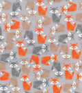 Snuggle Flannel Fabric 42\u0022-Pretty Foxes Gray