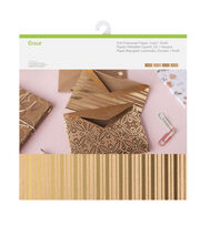 Cricut 12 Pack 12''x12'' Deluxe Foil Embossed Papers-Gold & Kraft, , hi-res
