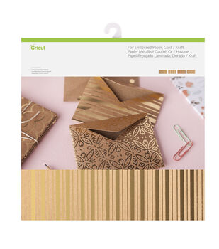 Cricut 12 Pack 12''x12'' Deluxe Foil Embossed Papers-Gold & Kraft