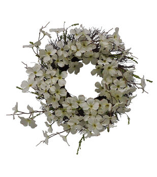 Fresh Picked Spring 24'' White Dogwood, Berry & Vine Wreath