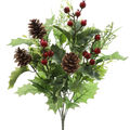 Handmade Holiday Christmas Large Holly Leaf & Red Berry Mixed Bush