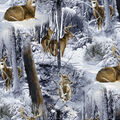 Super Snuggle Flannel Fabric-Photo Real Deer in Snow
