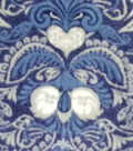 Specialty Luxe Fleece Fabric 59\u0027\u0027-Navy & White Damask