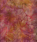 Batik Cotton Fabric 44\u0022-Burgundy Rustic Leaves