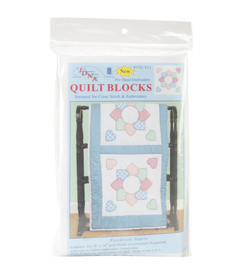Jack Dempsey 6ct 18''x18'' Stamped White Quilt Blocks-Patchwork Hearts